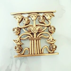 Gold Tone Statement Brooch Art Deco Style Pinup
